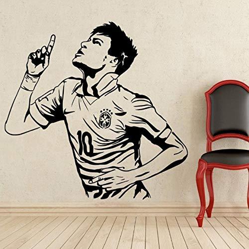 GAOCHUNYU Wohnkultur Poster Sport wandaufkleber PVC Vinyl Abnehmbare Kunstwand Fußballstar Neymar Tore jungen zimmer wandaufkleber 58x56 cm