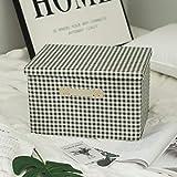 Stoffbox mit Deckel Oxford Stoffbox klappbar-Trompete_Tuch grünes Quadrat