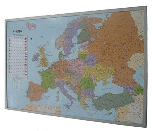 Politische Europakarte auf Kork-Pinnwand, deutsch, 90x60cm: Europakarte zum Pinnen, Maßstab 1:10.350.000 Mio., mit 12 Pinnfähnchen mit silberfarbenen Holzrahmen