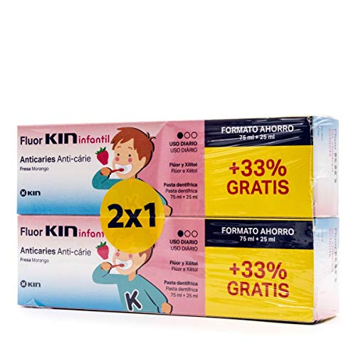 FLUOR KIN INFANTIL PASTA DIENTES ANTICARIES CON FLUOR SABOR FRESA PACK 2 75+25 ML