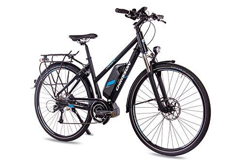 CHRISSON E-Bike 28 Zoll Trekkingrad City BikeDamenrad E-Rounder Lady mit 9G DEORE & Shimano Steps schwarz matt