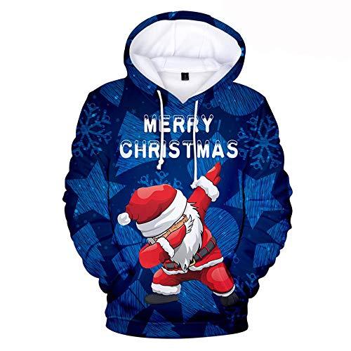 Sweatshirt 3D Hoodie Pullover, Weihnachten Hoodie für Männer und Frauen, lose Casual europäische und amerikanische Trends, Erwachsene Kinder,C,XXXL