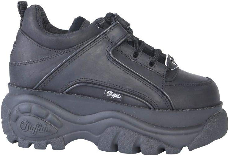 BUFFALO LONDON Women's BFL133914NE Black Leather Sneakers
