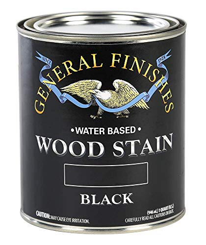General Finishes Water Based Wood Stain, 1 Quart, Black
