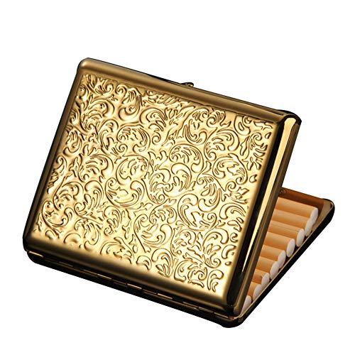 YXZN Metall Zigarettenetui für Herren und Damen Portable Ultradünne Zigarettenschachtel für 20 Zigaretten,Gold,10.3X1.6X8.3CM