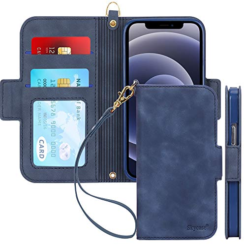 Skycase Compatible for iPhone 12 Mini Case 5G,[RFID Blocking] Handmade Flip Folio Wallet Case with Card Slots and Detachable Hand Strap for iPhone 12 Mini 5.4 inch 2020,FG-Navy