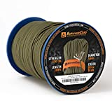 620 LB SurvivorCord - The Original Patented Type III Military 550 Parachute Cord with Integrated Fishing Line, Multi-Purpose Wire, and Waterproof Fire Starter. 500 FT Spool, Olive-DRAB Paracord