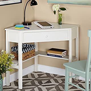 This Classically Styled Desk utilizes a Small Space for a Big Impact, with Stylish Under-Desk Shelving and a Drawer to Hide Clutter. Simple Living Wood Corner Computer Desk (1, Antique White)