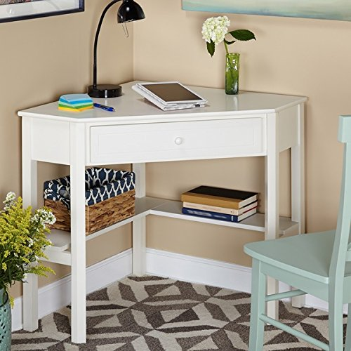 This Classically Styled Desk utilizes a Small Space for a Big Impact, with Stylish Under-Desk Shelving and a Drawer to Hide Clutter. Simple Living Wood Corner Computer Desk (Antique White)