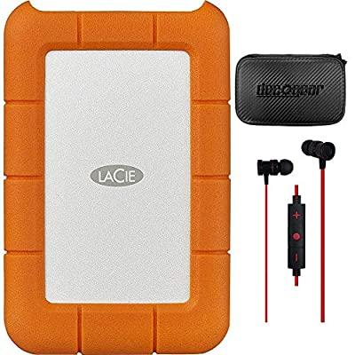 LaCie LAC9000298 Rugged Mini USB 3.0 / USB 2.0 2 TB External Hard Disk Drive (HDD) Bundle with Deco Gear Hard EVA Case with Zipper 5 Inch and in-Ear Bluetooth Earbud Headphones
