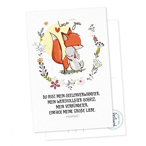 Postkarte Fuchs und Hase - Du bist mein Seelenverwandter, einfach mein größter Schatz