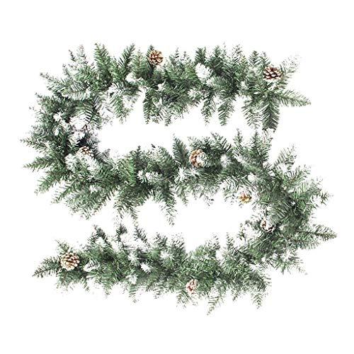 FENG Tannengirlande grün,270cm Weihnachtsgirlande Weihnachtsdekoration aus PVC, künstliche Dekogirlande im Tannengrün Dekoration für Haus & Garten Treppe (Grün)