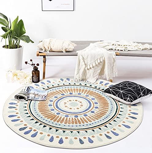 "Round Washable Rug Carpet Non-Slip Scandinavian Geometric Door Mat Shag Faux Fur Area Rugs for Livingroom Bedroom, 31.5"" Round"