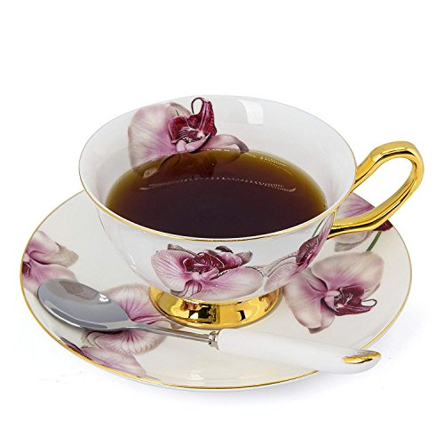 NDHT Bone China Bone China Teacups/Coffee Cups & Saucers Sets with Spoons-6.7Oz, for Home,Restaurants, Display for Family or Friends,butterfly orchid,with gift box(1 Sets)