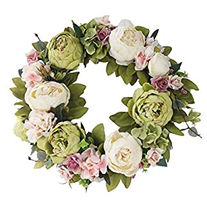 Lingge Artificial Garland Door Ring Decorative Artificial Flower Wall Hanging Ornament for Summer Wedding Decoration Trusted