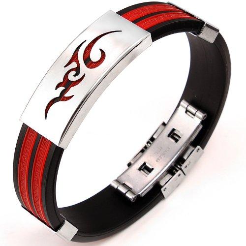 JewelryWe Schmuck 14,5 mm Breite Edelstahl & Gummi Herren Armband Armreif Flamme Rot