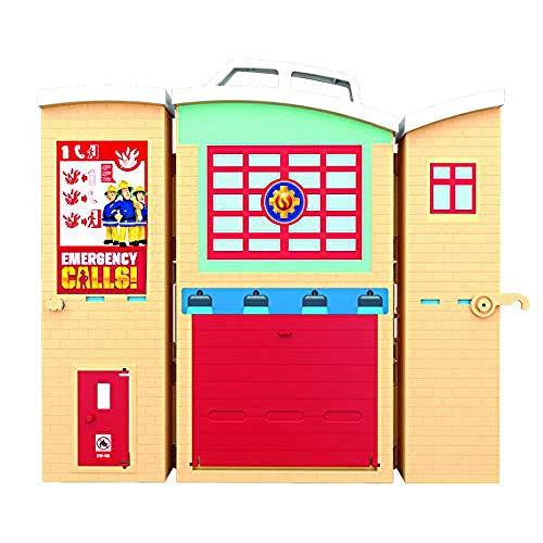 Fireman Sam Estación de bomberos Centro de rescate de incendios, figura y accesorios, juguete de aventura preescolar, Zipwire, plataforma de rescate - como se ve en la TV