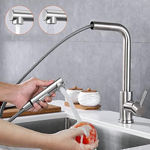 Rubinetto Cucina con Doccetta Estraibile, Rubinetto per Cucina Girevole a 360 ° con Uscita Acqua a 2 Funzioni, Miscelatore Cucina rubinetto bagno lavabo Acciaio inox