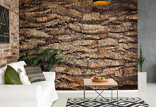Baumrinde Textur Vlies Fototapete Fotomural - Wandbild - Tapete - 254cm x 184cm / 2 Teilig - Gedrückt auf 130gsm Vlies - 2007V4 - Holzwände