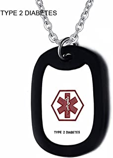Comfybuy CF Stainless Steel Medical Alert Diabetic ID Dog Tag Pendant Necklace Sos Emergency for Men Women