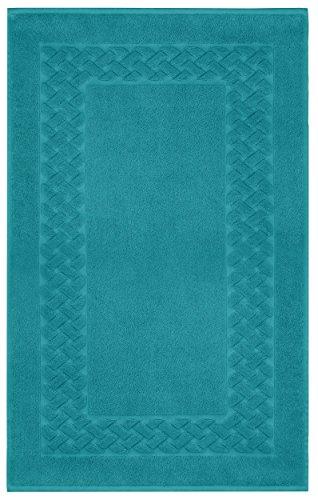 Lashuma Badezimmerteppich Petrol - Blau, Klassischer Badläufer Rutschhemmend, Royal 50 x 80 cm