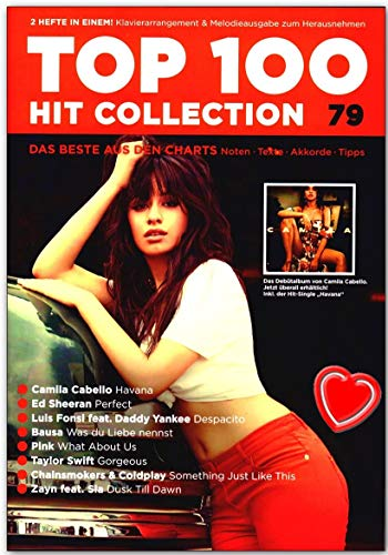 Top 100 Hit Collection 79 - Ed Sheeran, Camilla Cabello, Luis Fonsi, Bausa Songbook mit bunter herzförmiger Notenklammer