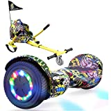 EverCross Hoverboard, Self Balancing Scooter Hoverboard with Seat Attachment, 6.5' Hover Board Scooter with Bluetooth Speaker & Colorful LED Lights, Hoverboards Suit for Adults and Kids (Hip hop)