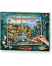 Schipper 609240798 Am Comer See - Juego de Pintura por números para Adultos, Incluye Pincel y Pinturas acrílicas, 24 x 30 cm
