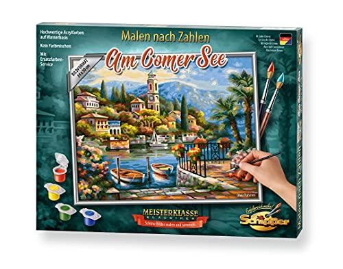 Schipper 609240798 Malen nach Zahlen, Am Comer See - Bilder malen für Erwachsene, inklusive Pinsel und Acrylfarben, 24 x 30 cm
