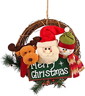 LHQ-HQ Christmas Wreath Rattan Pendant Door Hanging Old Man Snowman Deer Decoration Hanging for Family (Color : 1, Size : Diameter 33cm/13in)