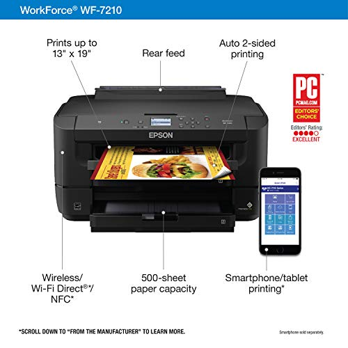 WorkForce WF-7210 Wireless Wide-format Color Inkjet Printer with Wi-Fi Direct and Ethernet, Amazon Dash Replenishment Ready Photo #5