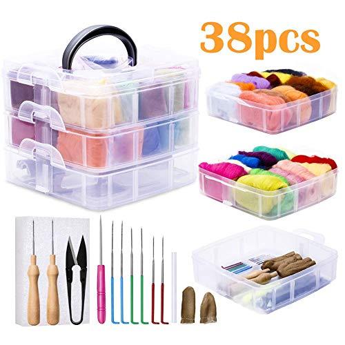 Ekalee Nadelfilz Set, 24 Farben Filzwolle Roving, Nadelfilz Starter Kit mit Filznadeln Grundwerkzeugen und Zubehör Wollfaser-Handspinnmaterial zum Basteln für Anfänger