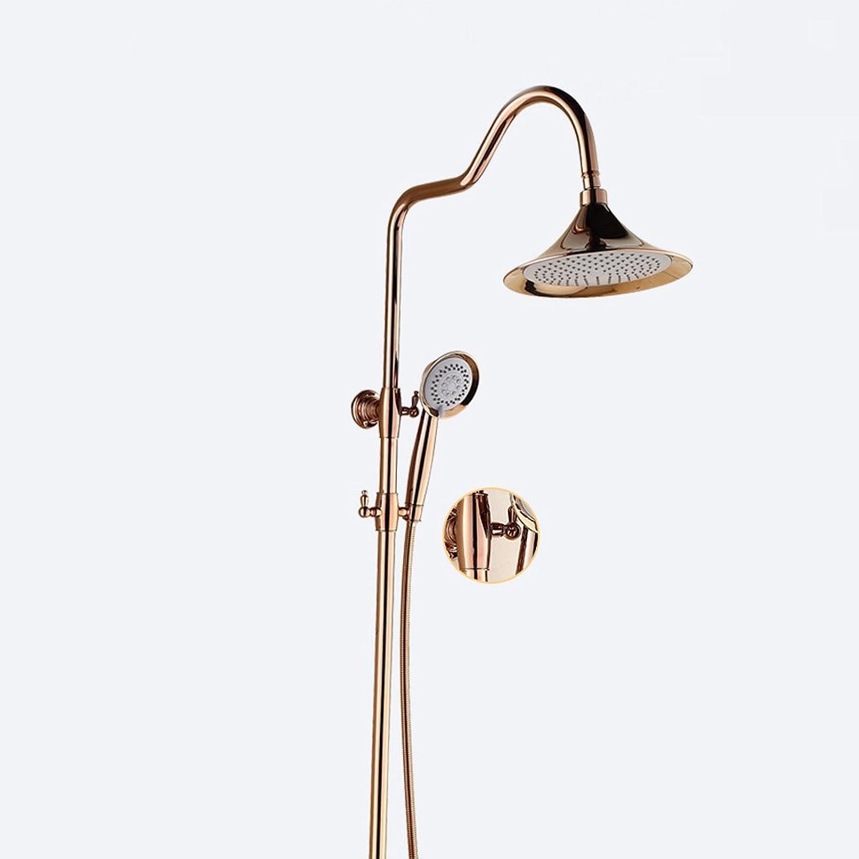 pink gold Shower Set Suit Brass Body Bathroom Faucet golden Shower Head