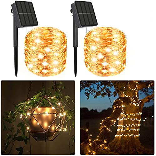 480LED Solar String Lights Outdoor Garden 2Packs 24m/79ft Solar Fairy Lights Garden Waterproof 8 Modes Christmas Decoration Lights, Copper Wire String Light for Patio, Yard,Wedding, Party(Warm White)