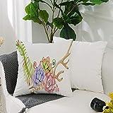 Kissenbezug Polyester Kissenhülle Dekorative,Geweih Dekor, Aquarell Geweih mit saftigen Pflanzen...