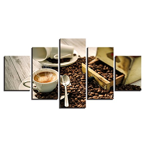 SDALD Leinwanddrucke 5 Teilig 150x80CM Kaffeetasse Poster 5 Stück Leinwanddrucke Leinwand stück Kunstdruck modern Wand Aufhängen Home Dekoration Moderne Gemälde HD Panel Leinwandbild 5 tlg Bilder Druc