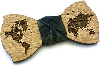 Papillon legno GIGETTO Mappamondo Nodo Verde Militare Made in Italy