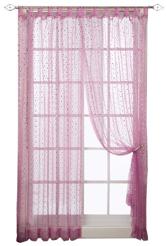 1888 Mills Groovy 50-inch-by-84-inch Single Tab-Top Panel Sheer with Sequins, Fushia