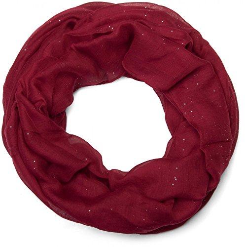 styleBREAKER edler einfarbiger glitzernder Loop Schal, Unifarben, Schlauchschal, Damen 01018090, Farbe:Bordeaux-Rot
