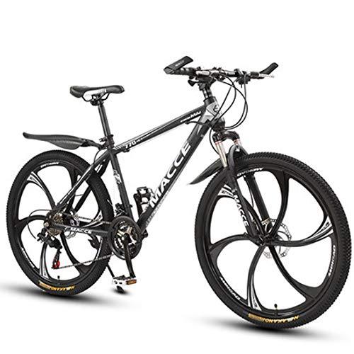 GL SUIT 24-Gang-Fahrrad Mountainbike für Erwachsene Unisex, Doppelscheibenbremsen leichte Carbon Stahlrahmen stoßdämpfender Federgabel Hard Tail Dirt Bike,Schwarz,24 inches