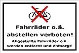 Melis Folienwerkstatt Schild - Fahrräder abstellen - 30x20cm | Bohrlöcher | 3mm Aluverbund – S00050-011-A -20 Varianten