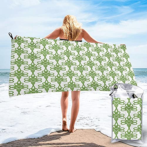 Quick Dry Beach Towel,St Patrick s Day Theme Celtic Knots Lucky Clover Design Pattern Irish Theme Print,Ultra Absorbent Bath Towels for Camping Travel Water Sports Bathroom Gym Yoga
