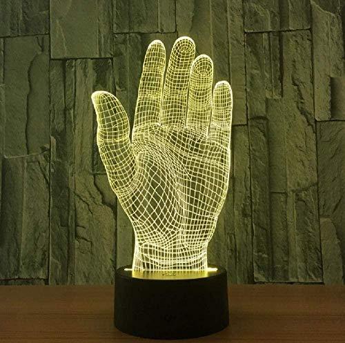 Palm Hand 3D Led Night Light Lámpara acrílica Interruptor táctil Iluminación novedosa Lámpara USB Lámpara de mesa Fiesta Oficina Deco Regalo