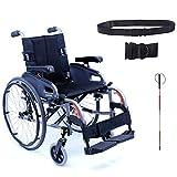 Karman Flexx Ultra Lightweight Fully Adjustable Wheelchair, Quick Release Rear Wheel Axle, Folding Backrest, Seat 18' X 18' in Black Frame & Free Folding Blind Cane + Black Wheelchair Seatbelt!