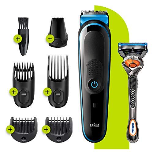 Braun Mgk5245 baardtrimmer voor heren, 7-in-1, tondeuse en gezichttrimmer met autosense-technologie en 5 accessoires, zwart/blauw