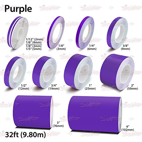 AutoXpress   Purple Roll Pinstriping Styling Trim Coachline Pin Stripe DIY Self Adhesive Line Car Motorcycle Truck Bike Model Hobbies Vinyl Tape Decal Stickers (1/4' - 6mm)