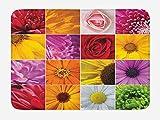 TKMSH Flower Bath Mat, Chrysanthemum Rose Sunflower Violet Colorful Flowers Romance Bridal Plants, Plush Bathroom Decor Mat with Non Slip Backing, Orange Yellow Pink,19.6X31.4 inch/50 * 80cm