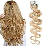 SEGO Extension Cheveux Adhesive Ondule Naturel 20 pcs 40g - 35 CM 24#Blond Naturel - Rajout Bande Adhesif Vrai Tape in Human Hair