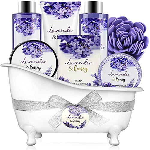 Bath and Body Gift Set - 8 Pcs Bath Spa Gift Sets Lavender&Honey Scent, Includes Bubble Bath, Shower Gel, Body Lotion, Bath Salt and More, Bath Gift Basket for Home Relaxation