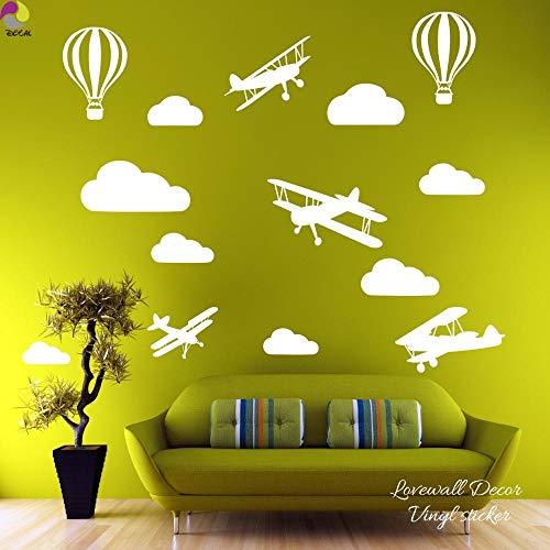 Muursticker Cartoon Plane Cloud Muursticker Baby Kwekerij Slaapkamer Vliegtuig Cloud Ballon Muurstickers Kinderen Kamer Woonkamer Vinyl Decoratie-Bruin Maat 1 cooldeerydm